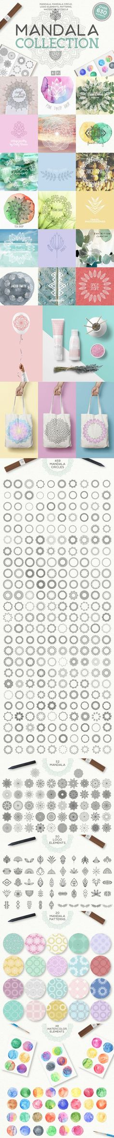Mandala Collection - Over 630 Elements  In this #magical collection of more than 600 mandalas for every taste. Be sure to click on the image to see all toolkit.  Are you a #vintage jeweler or a #wedding planner? Or if you have a surf school or a #flowers #shop? Maybe you a #yoga instructor or a decorator? Create a #logo or #branding of their dreams. You can easily combine mandala and #watercolor circle. Or simply add mandala circle on your photo.