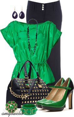 Navy and Green...Cute Top but I think I'de like the shoes better if they were all green pumps <3
