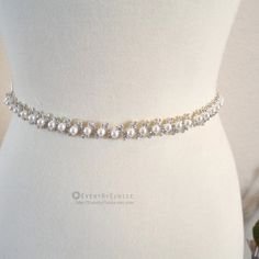 2dc4499c27 Items similar to Wedding Crystal and Pearl Belt
