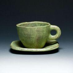 Joseph Pintz Green Cup & Saucer