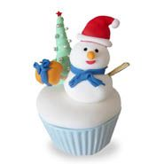 Snow man cup cake