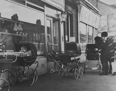 Manors Butchers, Chillingham Road, Heaton, Laszlo Torday, in the days when you could leave your baby in the pram outside and not have to worry.