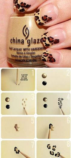DIY leopard nail hair-styles-and-makeup #Nails Pinterestbags.com