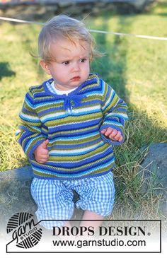"DROPS bluse eller jakke med striber i ""Baby-ull"" og ""Camelia"" ~ DROPS Design Baby Knitting Patterns, Knitting For Kids, Baby Patterns, Free Knitting, Knitting Projects, Drops Design, Crochet Baby, Knit Crochet, Chelsea Baby"
