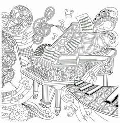 Musical Coloring Pages For Adult Coloring Page Printable Guitar Musical Coloring Pages For Piano Coloring Page High School Musical Coloring Pages Printable Music Coloring Pages Printable Free Coloring Book Pages, Printable Coloring Pages, Coloring Pages For Kids, Coloring Sheets, Zentangle Patterns, Zentangles, Mandala Coloring, Colorful Pictures, Doodle Art