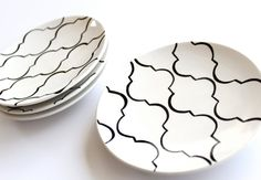Lattice Patterned Tapas Plates Set of Four by Aedriel Originals. $42.00, via Etsy.