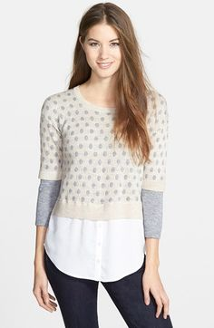 kensie+Layered+Look+Speckled+Mélange+Sweater+available+at+#Nordstrom
