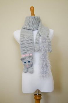 Hey, I found this really awesome Etsy listing at https://www.etsy.com/listing/179166426/grey-crochet-cat-scarf-with-beaded