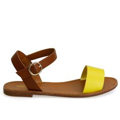 Kylee-13 Yellow & Tan Two-Toned Faux Leather Ankle Strap Sandals