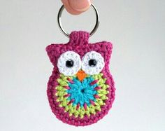 Crochet owl keychain, cute animal keyring handmade in pink green and turquoise cotton yarn, crocheted owl accessories : Items similar to crochet owl keychain, owl keyring, pink crochet owl keychain on Etsy Crochet Amigurumi, Crochet Toys, Knit Crochet, Cotton Crochet, Crochet Keychain Pattern, Crochet Bookmarks, Crochet Gifts, Cute Crochet, Yarn Projects