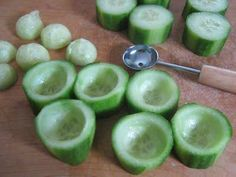 Cucumber cups: you can filled it with chicken salad, dips, or anything you want.