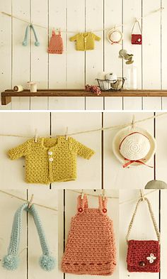 crochet mini ornament wall hanging by Pierrot on Ravelry - free pattern. So cute!! I love how they've styled this shot too, looks very seasidey.
