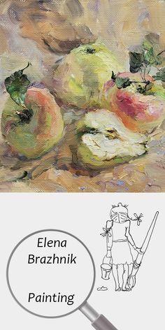 "Elena Brazhnik   Painting   Printable   Design   Interior   Instant Download   ""Snow Calvin"" (fragment)   Oil on Canvas Still Life Apples Ripe Harvest Garden Pink Yellow Digital Image for Print   №LP-003"
