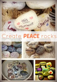 Simple, DIY Peace Rocks for busy moms who want to stay calm all day long. - I need to remember to stay peaceful and they will look great in my flower bed.