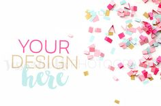 Pink Spilled Confetti Styled Desktop by Jess Weible Photography on Creative Market