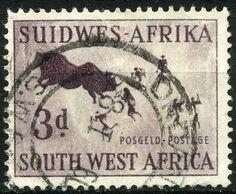 Stamp: Rhinoceros Hunt (South-West Africa) (Definitive) Mi:NA-SW 293,Sn:NA-SW…
