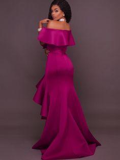 Fuchsia Falbala Slash Neck Women's Maxi Dress