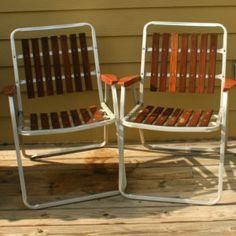 Pair Retro Vtg Vintage Folding Aluminum Lawn Chair Webbed