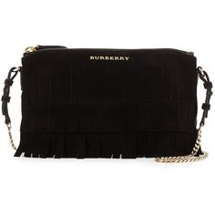 Burberry Peyton Fringed Suede Crossbody (£540) ❤ liked on Polyvore featuring bags, handbags, shoulder bags, black, fringe purse, cross body handbags, fringe crossbody and accessories handbags