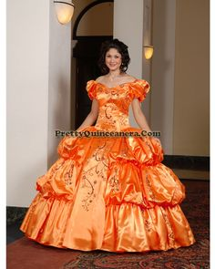 2010 Winter quinceanera dress,Gorgeous Quinceanera Dress QD2010-11,discount designer quinceanera ball gowns,Pictured in Orange Sunkist. Spectacular style highlights the satin fabric on this dress. Zippered back.br / br /