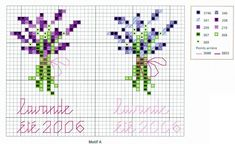 Lavender cross stitch pattern and color chart.