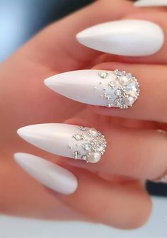 57 Gorgeous Wedding Nail Designs for Brides, bridal nails nails bride,wedding nails with glitter, nails for wedding guest weddingnails nails bridenails glitternails bridalnails 319051954853400784 Simple Wedding Nails, Wedding Nails For Bride, Bride Nails, Wedding Nails Design, Wedding Beauty, Wedding Makeup, Nail Wedding, Prom Makeup, Prom Nails