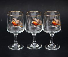 Vintage 60s Mad Men Tall Scotch or Aperitif Cordial Glasses Wild Bird Real Gold Rim Game Water Fowl Pheasant Wild Turkey