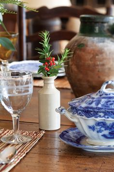 Fill a small bottle at each place at your table with a few sprigs of holiday-appropriate greener