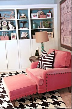 Adding a pop of color and styling bookshelves. #VelvetChair