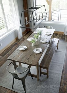 Farmhouse kitchen tables - Made from Scratch 25 DIY Dining Tables – Farmhouse kitchen tables Farm Table Plans, Farmhouse Table With Bench, Dining Table With Bench, Farmhouse Kitchen Tables, Diy Table, Dining Tables, Farmhouse Plans, Ana White Farm Table, Dining Rooms