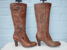 ~  RIVER ISLAND LEATHER BOOTS ~ SEXY BROWN PULL ON BUCKLE BOOTS Ladies Size 6 39