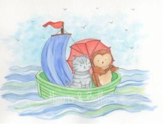 Childrens art Owl and Cat watercolour painting PRINT 8 x 10 the Owl and the Pussycat Nursery Rhyme Happy Sunny Fun Boats Boy Girl. $15.00, via Etsy.
