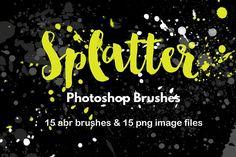 Watercolor Splatter Brushes Graffiti by FOXYdigitalart on @creativemarket