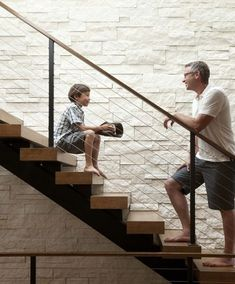 Cable railing on modern stair. I like the chunky wood threads. Modern Stairs Design Ideas, Pictures, Remodel, and Decor