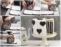 Chocolate Striped Cake Swiss Roll Tutorial