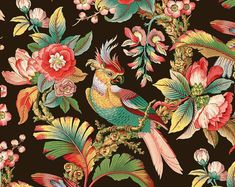 Art Nouveau Parrot and Tropical Foliage. A reaction to academic art of the century, it is characterized by organic, especially floral and other plant-inspired motifs, as well as highly-stylized, flowing curvilinear forms. Motifs Textiles, Textile Patterns, Fabric Wallpaper, Pattern Wallpaper, Bird Wallpaper, Zuber Wallpaper, France Wallpaper, Chinoiserie, Vogel Illustration
