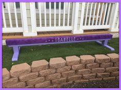 "Purple Suede Gymnastics Balance Beam on Lavender 12"" Legs with Personalization"