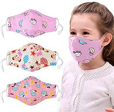 Dust Mask for Kids,Aniwon 3 Pcs Kids Mouth Face Mask with 6 Pcs Activated Carbon Filter Insert,Washable Cute Cotton Mouth Mask with Adjustable Straps (Pink) Face Masks For Kids, Easy Face Masks, Best Face Mask, Diy Face Mask, Sewing Hacks, Sewing Tutorials, Mouth Mask Design, Mouth Mask Fashion, Crochet Mask