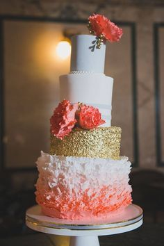 Soft Grey and Metallic Gold Accents and Coral Details | Jenna Rae Cakes