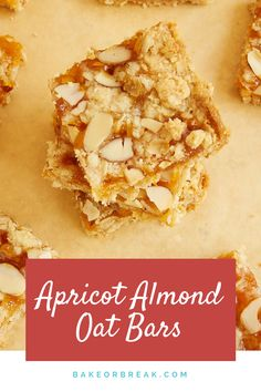 Apricot Almond Oat Bars from Bake or Break have such wonderful sweet and nutty flavor flavor. These are so easy to make and very quick to disappear! Easy Baking Recipes, Snack Recipes, Cooking Recipes, Bar Recipes, Snacks, Cooking Tips, Keto Recipes, Almond Bars, Cookies
