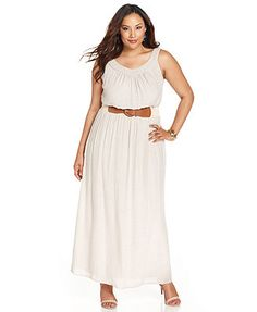 AGB Plus Size Sleeveless Belted Maxi Dress