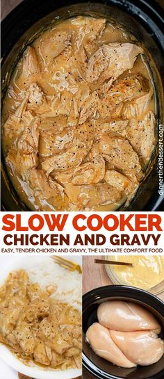 low Cooker Chicken Breasts and Gravy is the ultimate comfort food, an easy crockpot recipe for tender chicken and yummy gravy. low Cooker Chicken Breasts and Gravy is the ultimate comfort food, an easy crockpot recipe for tender chicken and yummy gravy. Crockpot Chicken And Gravy, Crockpot Dishes, Crock Pot Cooking, Slow Cooker Chicken, Recipes With Chicken Gravy, Chicken Breast Gravy Recipe, Chicken Tenders In Crockpot, Crockpot Boneless Chicken Recipes, Chicken Breats Recipes