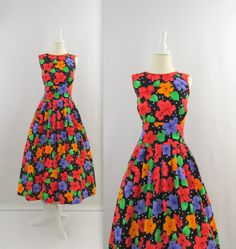 Vintage 1980s Does 1950s Full Skirt Dress in Black & Bright Floral. @Layla Smith I would totally wear this!!