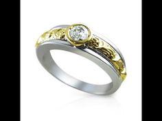 טבעת סוליטר מעוצבת בזהב לבן וזהוב משולב בסיגנון וינטאג'-7585