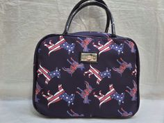 BETSEY JOHNSON american dogs weekender Navy Blue COSMETIC travel MAKE UP bag