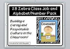 Zebra Class Job and Alphabet cards/number pack.