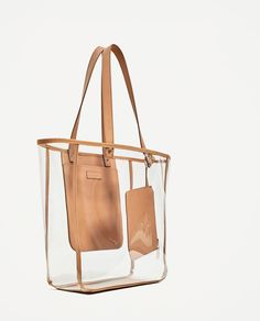 Image 1 of TRANSPARENT TOTE from Zara Clear Plastic Bags, Clear Bags, Purses And Handbags, Tote Bags, Transparent Bag, O Bag, Shopper, Fashion Bags, Fashion Handbags