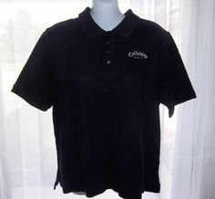 CALLAWAY GOLF WOMENS BLACK COTTON PIQUE KNIT EMBROIDERED POLO SHIRT Size Large #Callaway #PoloShirt #Casual