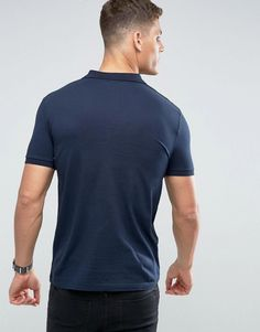 ASOS Polo Shirt In Jersey In Navy - Navy