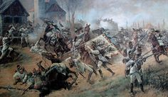 3rd Infantry Regiment under attack by French Cuirassiers at the Battle of Regensburg . 1809